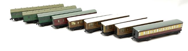 Hornby Dublo - nine unboxed coaches including four LNER teak style for First/Third and Third class