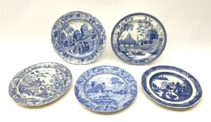 Five early 19th century Spode transfer printed pearlware plates