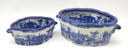 Two Victoria Ware blue and white footbaths