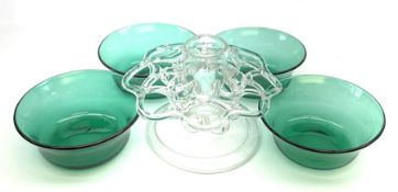 A set of four early 19th century Bristol green glass finger bowls