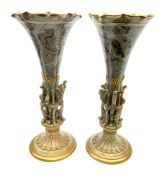 A pair of Doulton Lambeth Marqueterie vases