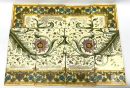 Twelve Minton Art Nouveau tiles