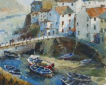 Ann Thorpe (British Contemporary): 'Moorings at Staithes Beck'