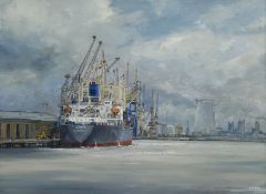 A E Gray (British mid/late 20th century): 'Discharging at Hull Docks'