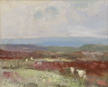William B Dealtry (British 1915-2007): Sheep on a Heather Moorland