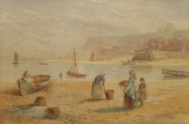 Kate E Booth (British fl.1850-1898): Figures in 'Whitby Harbour'