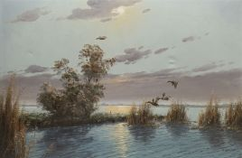 Gerard Brouwer (Dutch 1938-): Mallards in Flight