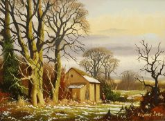 Vincent Selby (British 1919-2004): Snowy Farmstead