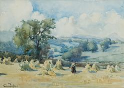 Gertrude Priestman (British 1870-1955): Gathering Corn Stooks