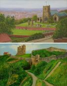 Richard Wood (British 20th century): St Mary's Church and Scarborough Castle