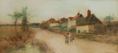 Leopold Rivers (British 1850-1905): Walking Home at Dusk