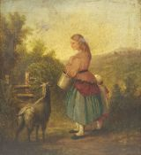 English School (Early 19th century): Milkmaid and Goat by a Stile