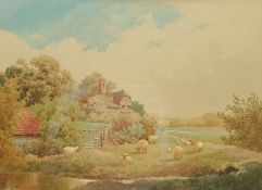 Albert Edward Bowers (British fl.1875-1893): Sheep Grazing by a Country House