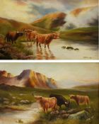 S H Dennis (British early 20th century): Highland Cattle