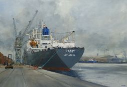 A E Gray (British mid/late 20th century): Unloading the 'Kamy' at Hull Docks