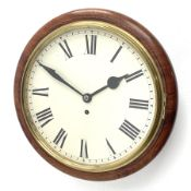 Late 20th century circular mahogany cased dial clock fitted with single fusee movement