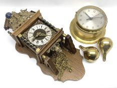 Late 20th century 'Smiths' brass bulk head type clock and a late 20th century Dutch style figural wa
