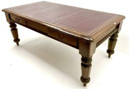 Victorian oak library table
