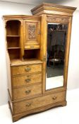 Late Victorian inlaid and cross banded ash and elm combination wardrobe