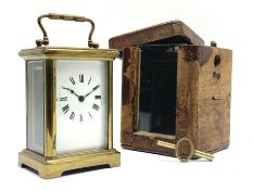 Early 20th century brass carriage clock time piece