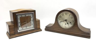Early to mid 20th century Art Deco style walnut mantel clock and a mid 20th century oak cased mantel