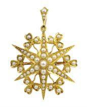 Edwardian 18ct gold split seed pearl star pendant