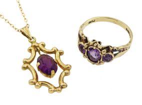 Gold amethyst pendant