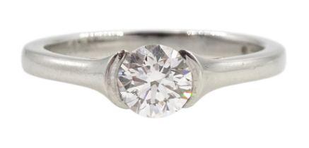 Platinum single stone round brilliant cut diamond, half bezel set ring, hallmarked, diamond 0.51 car