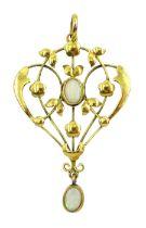Edwardian gold opal pendant necklace