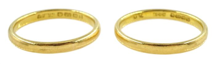 Two 22ct gold wedding bands