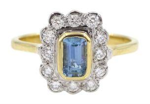18ct gold emerald cut aquamarine and round brilliant cut diamond cluster ring