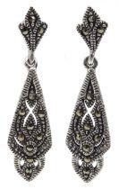Pair of silver marcasite pendant earrings