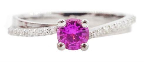 18ct white gold round pink sapphire ring