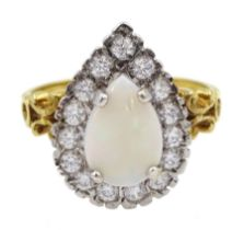 Silver-gilt opal and cubic zirconia cluster ring