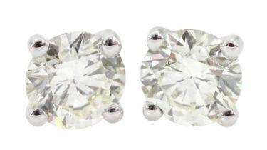 Pair of 18ct white gold brilliant cut diamond stud earrings