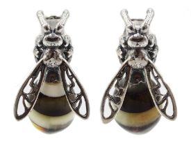 Pair of silver amber bee stud earrings