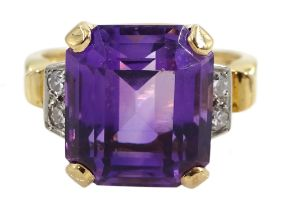 Gold amethyst and four stone diamond ring, stamped 14K