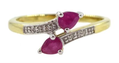 Silver-gilt pear shaped ruby ring