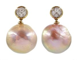 Pair of 9ct white gold diamond and pink/peach pearl pendant earrings