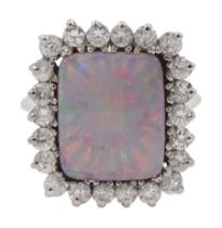 14ct white gold rectangular opal and round brilliant cut diamond cluster ring