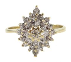 9ct gold diamond cluster ring