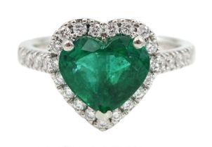 Platinum heart shaped Zambian emerald and diamond cluster ring