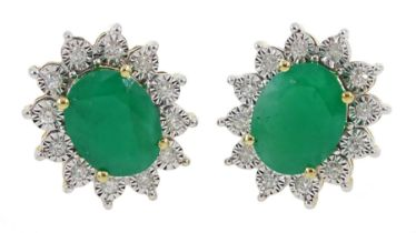 Pair of 9ct gold oval emerald and diamond cluster stud earring