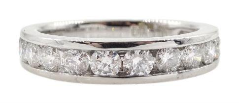 18ct white gold round brilliant cut diamond three quarter eternity channel set ring