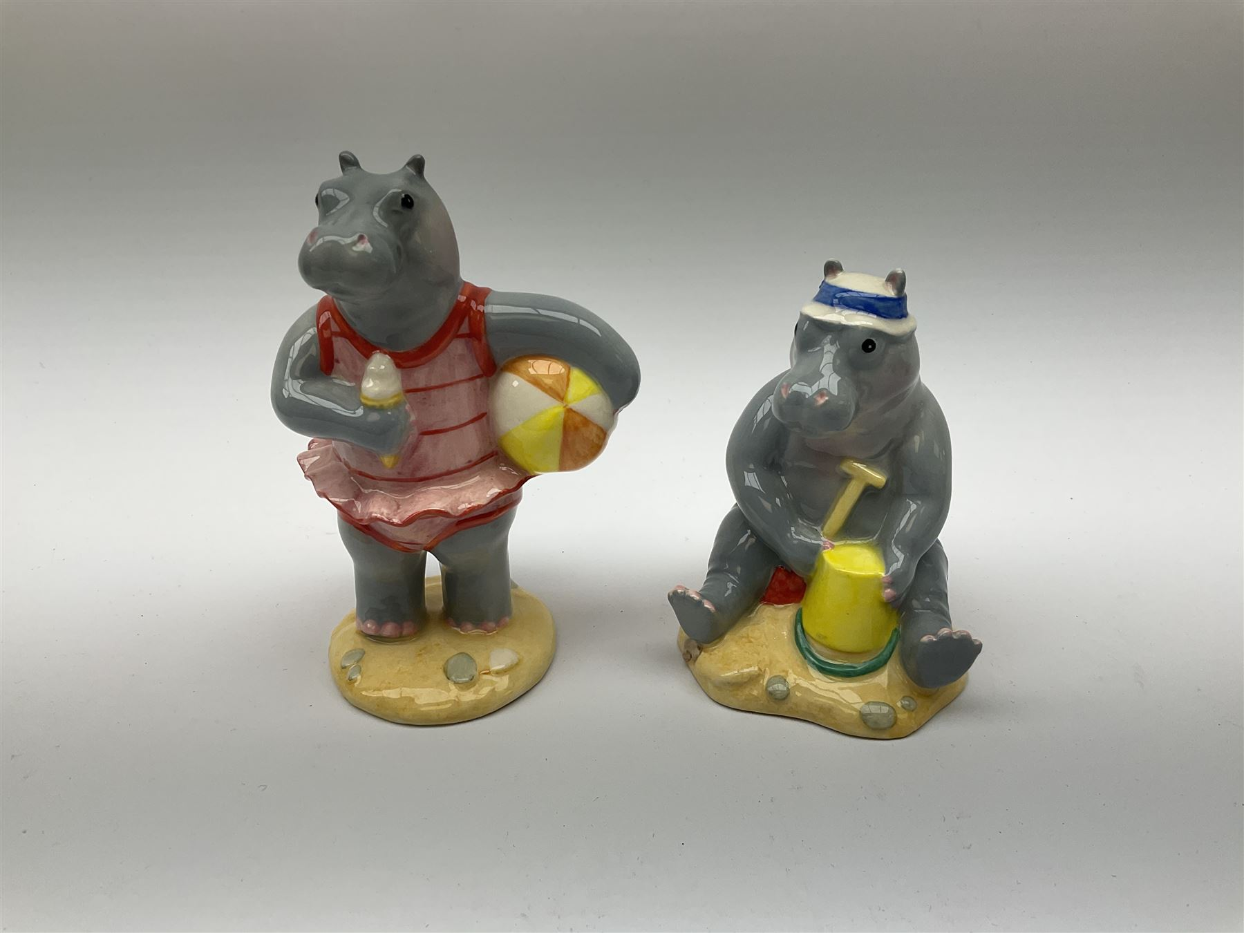 Five limited edition Beswick Hippos on holiday figures - Image 5 of 7