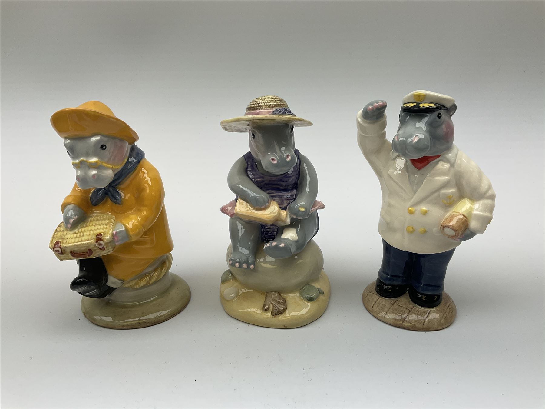 Five limited edition Beswick Hippos on holiday figures - Image 2 of 7