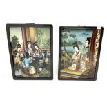 A pair of Chinese back-painted glass pictures depicting geisha