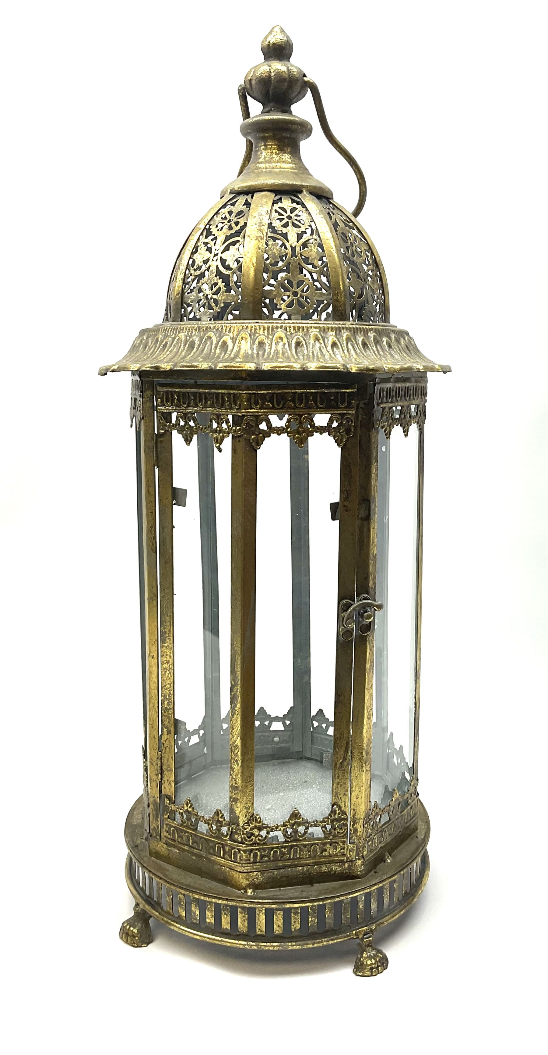 Bronze finish classical eight sided glass lantern with carrying handle