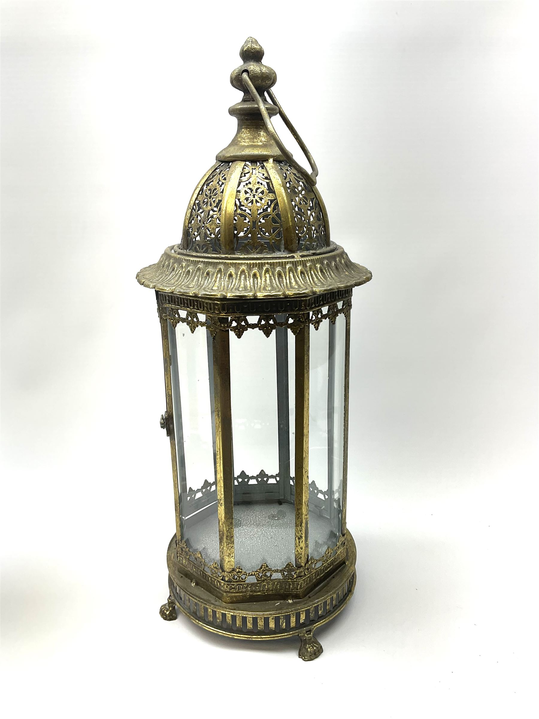 Bronze finish classical eight sided glass lantern with carrying handle - Image 2 of 2