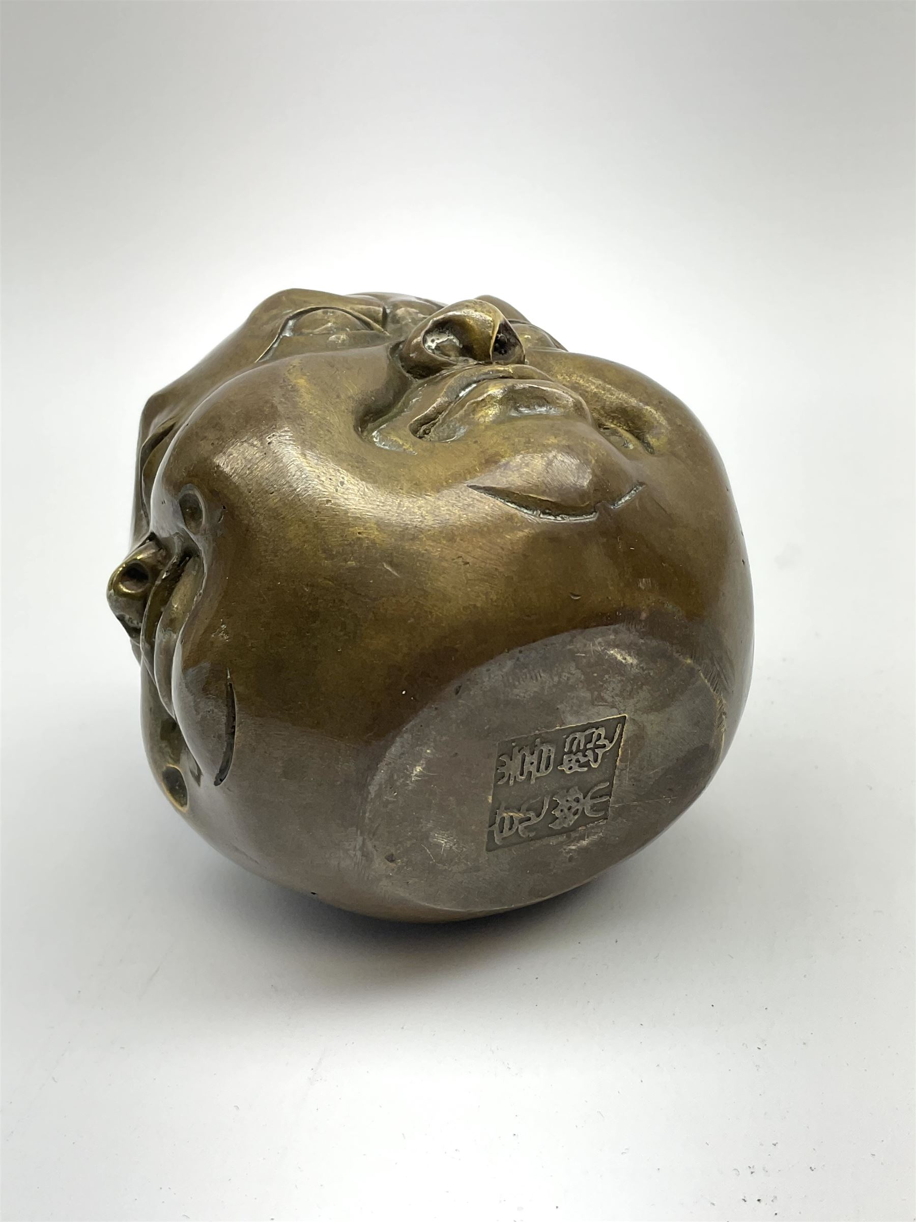 A bronzed four faced buddha head - Image 3 of 4